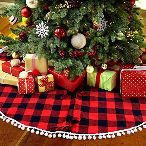PartyTalk 48 Inch Christmas Tree Skirt Red And Black Buffalo Plaid Tree Skirt With Pom Pom Trim For Holiday Christmas Decorations Double Layers Xmas Tree Skirt 0