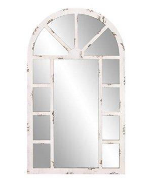Patton Wall Decor 24x40 Distressed White Arch Windowpane Wall Mounted Mirrors 0 300x360