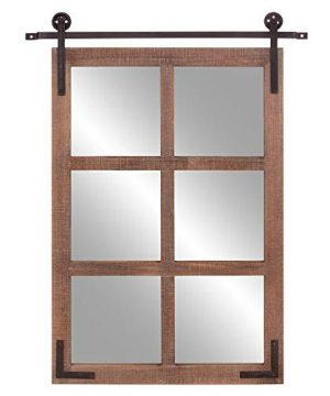 Patton Wall Decor 30x36 Sliding Barn Door Wood Window Wall Mounted Mirrors Brown 0 300x360