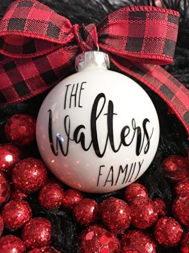 Personalized Rustic Farmhouse Family Christmas Ornaments 0