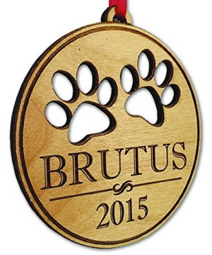 Pet Christmas Ornament Dog Cat Paw Prints 2015 Custom Wood Christmas Puppy Kitten Tree Ornament 0 300x360