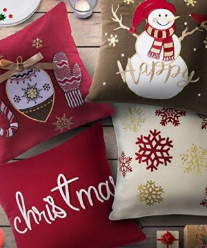 Phantoscope Set Of 4 New Merry Christmas Embroidery Snowman Letter Snow Flakes Throw Pillow Case Cushion Cover 18 X 18 Inches 45 X 45 Cm 0 0 300x360