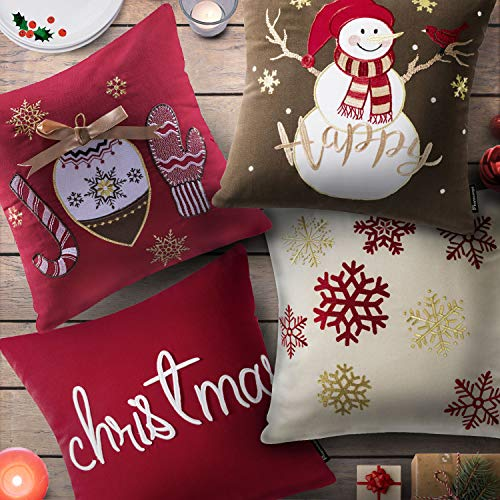 Phantoscope Set Of 4 New Merry Christmas Embroidery Snowman Letter Snow Flakes Throw Pillow Case Cushion Cover 18 X 18 Inches 45 X 45 Cm 0 0