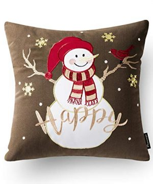 Phantoscope Set Of 4 New Merry Christmas Embroidery Snowman Letter Snow Flakes Throw Pillow Case Cushion Cover 18 X 18 Inches 45 X 45 Cm 0 2 300x360