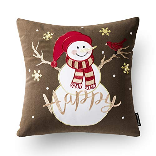 Phantoscope Set Of 4 New Merry Christmas Embroidery Snowman Letter Snow Flakes Throw Pillow Case Cushion Cover 18 X 18 Inches 45 X 45 Cm 0 2