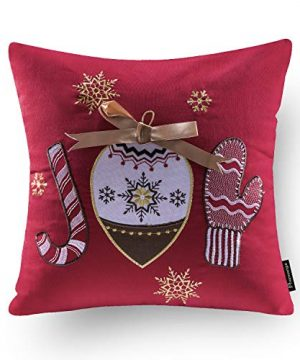 Phantoscope Set Of 4 New Merry Christmas Embroidery Snowman Letter Snow Flakes Throw Pillow Case Cushion Cover 18 X 18 Inches 45 X 45 Cm 0 3 300x360