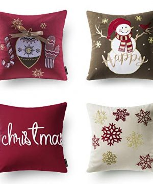 Phantoscope Set Of 4 New Merry Christmas Embroidery Snowman Letter Snow Flakes Throw Pillow Case Cushion Cover 18 X 18 Inches 45 X 45 Cm 0 300x360