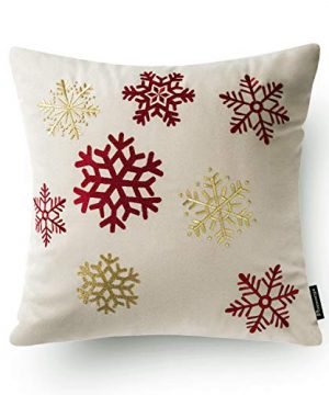 Phantoscope Set Of 4 New Merry Christmas Embroidery Snowman Letter Snow Flakes Throw Pillow Case Cushion Cover 18 X 18 Inches 45 X 45 Cm 0 4 300x360