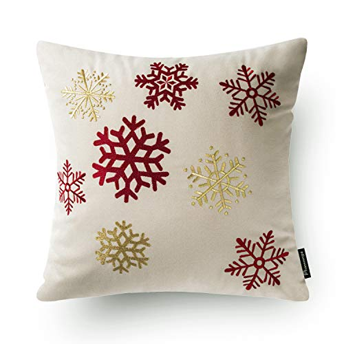 Phantoscope Set Of 4 New Merry Christmas Embroidery Snowman Letter Snow Flakes Throw Pillow Case Cushion Cover 18 X 18 Inches 45 X 45 Cm 0 4