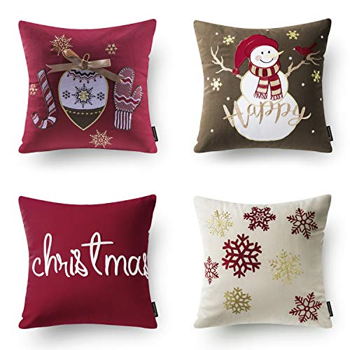 Phantoscope Set Of 4 New Merry Christmas Embroidery Snowman Letter Snow Flakes Throw Pillow Case Cushion Cover 18 X 18 Inches 45 X 45 Cm 0
