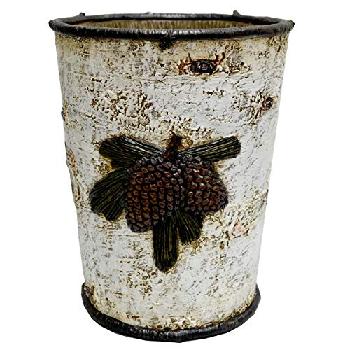 Pinecone Waste Basket White Brown Rustic Design Birch Tree Themed Garbage Can Hunting Lodge Cabin Cottage Pine Cone Nature Birchtree Woods Bathroom Any Room Trash Bin Wastebasket Metal Resin 0