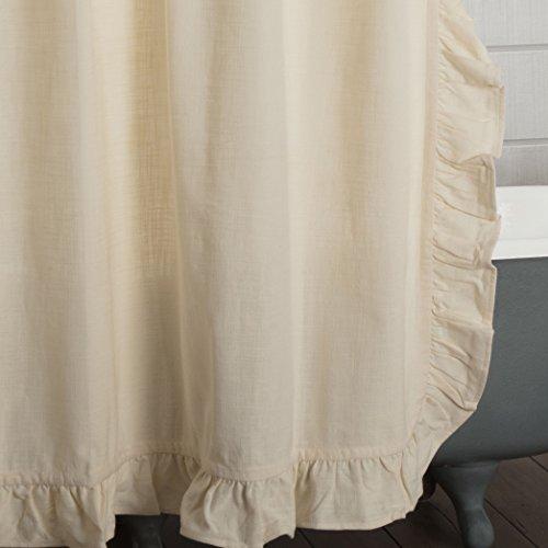 Piper Classics Ashley Natural Beige Ruffled Shower Curtain 72x72 Farmhouse Style Bathroom Dcor 0 0