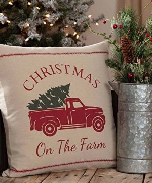 Piper Classics Christmas Tree Farm Throw Pillow Cover 18 X 18 Red Truck Country Farmhouse Holiday Dcor 0 300x360