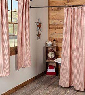 Piper Classics Homespun Red Ticking Shower Curtain 72 X 72 Natural Barn Red Farmhouse Primitive Bathroom Dcor 0 2 300x333