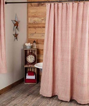 Piper Classics Homespun Red Ticking Shower Curtain 72 X 72 Natural Barn Red Farmhouse Primitive Bathroom Dcor 0 300x360
