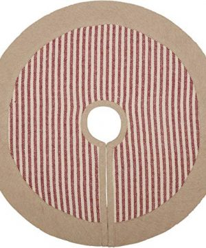 Piper Classics Homespun Red Ticking Small Tree Skirt 21 Diameter WChambray Border Country Farmhouse Christmas Primitive Holiday Dcor 0 300x360