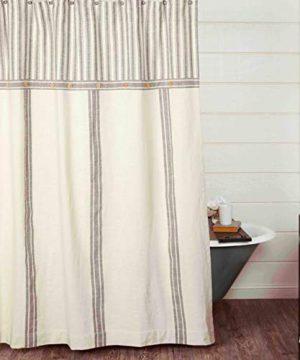 Piper Classics Market Place Gray Grain Sack Ticking Stripe Shower Curtain 72 X 72 Gray Natural Cream Farmhouse Bathroom Dcor 0 300x360