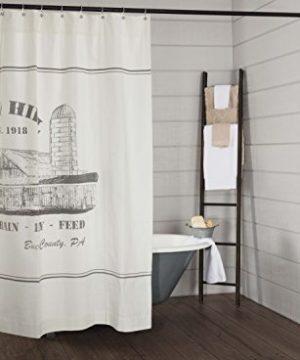 Piper Classics Silo Hill Shower Curtain 72x72 Farmhouse Style Bathroom Dcor Printed Off White Canvas 0 0 300x360