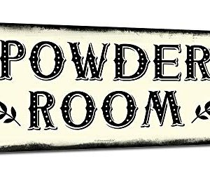 Powder Room 6 X 16 Inch Metal Farmhouse Sign Rustic Vintage Wall Decor For Home Restaurant Diner Coffee Shop Farm Theme Gifts For Farmers Ranchers Animal Lovers Housewarming RK3116 6x16 0 300x250