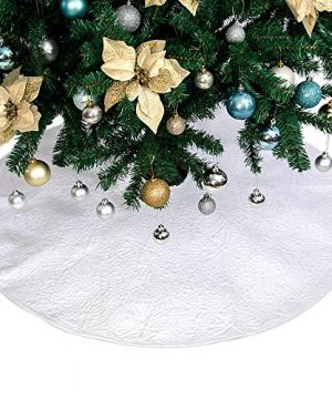 Powereva 48 Christmas Tree Skirt White100 Cotton Quilted Embroidered Butterfly Pattern DecorativeChristmas Holiday Three Layer Construction NO002 0 1 300x360