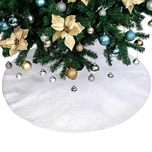Powereva 48 Christmas Tree Skirt White100 Cotton Quilted Embroidered Butterfly Pattern DecorativeChristmas Holiday Three Layer Construction NO002 0 1