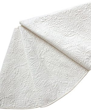 Powereva 48 Christmas Tree Skirt White100 Cotton Quilted Embroidered Butterfly Pattern DecorativeChristmas Holiday Three Layer Construction NO002 0 300x360