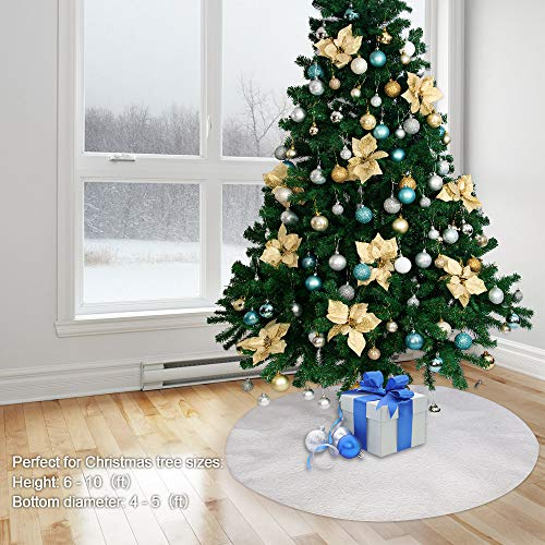 Powereva 48 Christmas Tree Skirt White100 Cotton Quilted Embroidered Butterfly Pattern DecorativeChristmas Holiday Three Layer Construction NO002 0 4