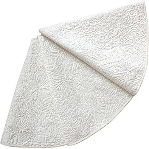 Powereva 48 Christmas Tree Skirt White100 Cotton Quilted Embroidered Butterfly Pattern DecorativeChristmas Holiday Three Layer Construction NO002 0
