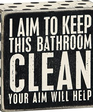 Primitives By Kathy 1 X I Aim To Keep This Bathroom Clean Your Aim Will Help Wooden Sign 0 300x360