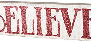 Primitives By Kathy Distressed Red And White Slat Box Sign Believe 0 300x142