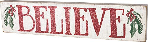 Primitives By Kathy Distressed Red And White Slat Box Sign Believe 0