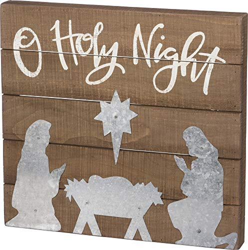 Primitives By Kathy Hand Lettered Slat Box Sign O Holy Night 0