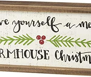Primitives By Kathy Inset Box Sign Merry Farmhouse Christmas 0 300x255