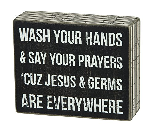 Primitives By Kathy Pinstripe Trimmed Box Sign 5 X 4 Inches Jesus Germs 0