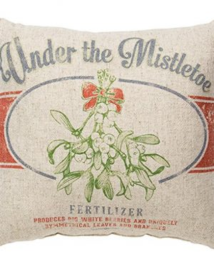 Primitives By Kathy Vintage Feed Sack Style Under The Mistletoe Throw Pillow 0 300x360