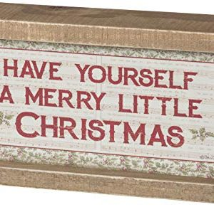 Primitives By Kathy Vintage Rustic Christmas Sign Have Yourself A Merry Little Christmas 8 X 4 Inch Decor 0 300x291
