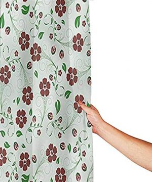 Printed Home Bathroom Shower Curtains Water Proof Bathroom Decoration With 12 Metal Hooks 84 Inch Extra Long 72 X 84 Floral Oriental Green Leaf Pattern 0 0 300x360