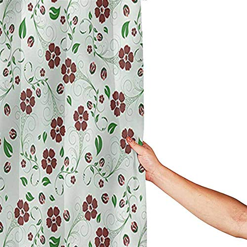 Printed Home Bathroom Shower Curtains Water Proof Bathroom Decoration With 12 Metal Hooks 84 Inch Extra Long 72 X 84 Floral Oriental Green Leaf Pattern 0 0