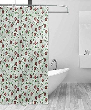 Printed Home Bathroom Shower Curtains Water Proof Bathroom Decoration With 12 Metal Hooks 84 Inch Extra Long 72 X 84 Floral Oriental Green Leaf Pattern 0 300x360