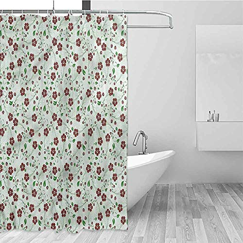 Printed Home Bathroom Shower Curtains Water Proof Bathroom Decoration With 12 Metal Hooks 84 Inch Extra Long 72 X 84 Floral Oriental Green Leaf Pattern 0