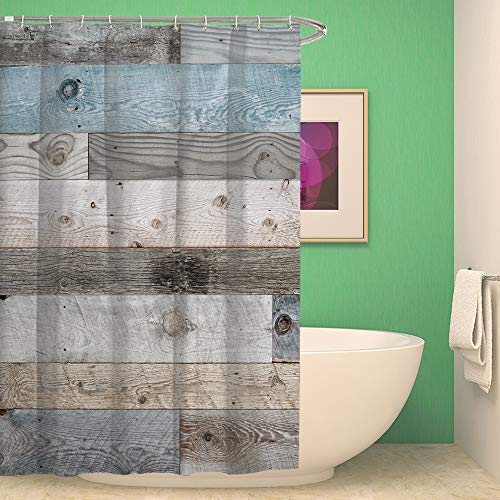 QCWN Wooden Shower CurtainRustic Floor Planks Print Grungy Look Farm House Country Style Shower Curtain Set With Hooks For Bathroom DcorMulti 70x70Inch 0 0