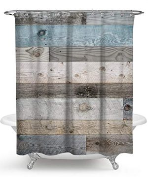 QCWN Wooden Shower CurtainRustic Floor Planks Print Grungy Look Farm House Country Style Shower Curtain Set With Hooks For Bathroom DcorMulti 70x70Inch 0 300x360