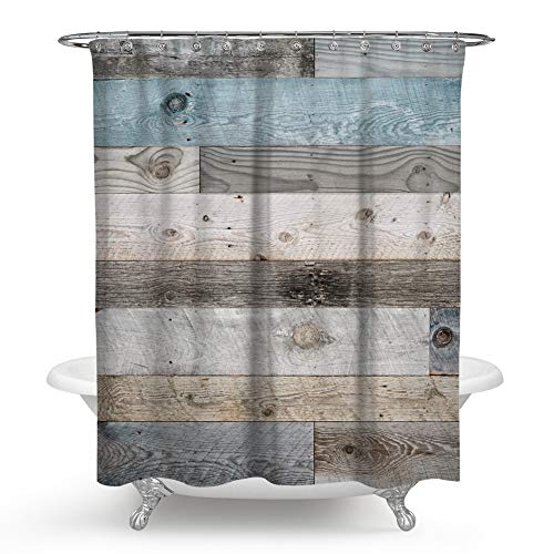 Qcwn Wooden Shower Curtain Rustic Floor