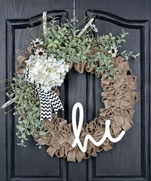 QUNWREATH Handmade 18 Inch Hydrangea WreathGreen Eucalyptus LeafHello LetterFall WreathWreath For Front DoorRustic WreathFarmhouse WreathGrapevine WreathLight Up WreathEveryday WreathQUNW80 0 300x360