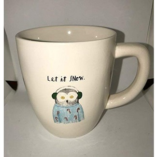 RARE Rae Dunn by Magenta Christmas Let It Snow Mug with Owl in Earmuffs and Candy Cane