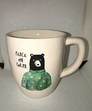 RARE Rae Dunn By Magenta Christmas Peace On Earth Bear In A Sweater Coffee Tea Mug Cup 0 300x360