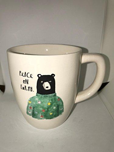 RARE Rae Dunn By Magenta Christmas Peace On Earth Bear In A Sweater Coffee Tea Mug Cup 0