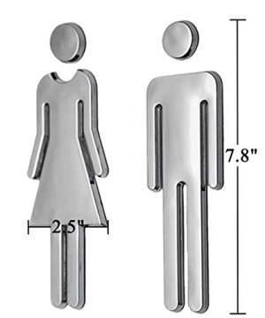 RJWKAZ Acrylic Adhesive Backed Mens And Womens Bathroom Sign 78 Silver 0 2 300x360