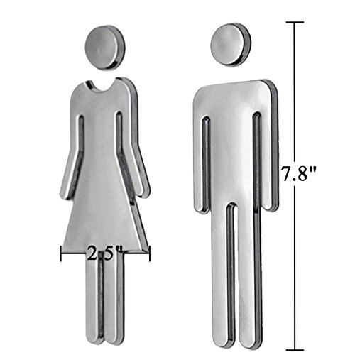 RJWKAZ Acrylic Adhesive Backed Mens And Womens Bathroom Sign 78 Silver 0 2