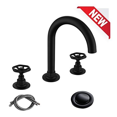 RKF Solid Brass Two Handle Widespread Bathroom Sink Faucet With Pop Up Drain With Overflow And CUPC Faucet Supply HosesMatte BlackCWF026 MB 0